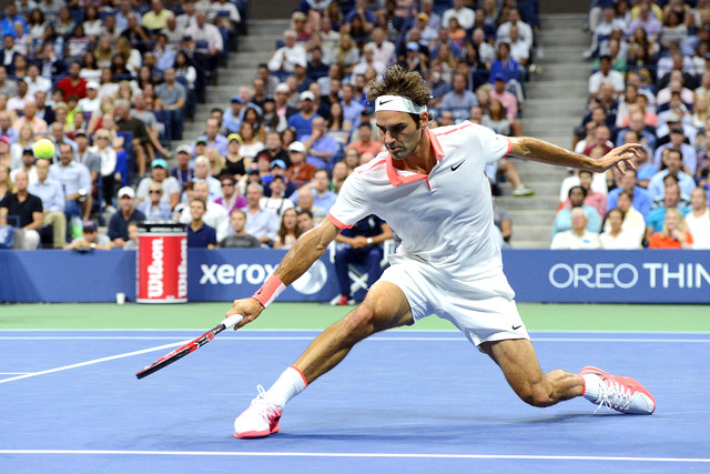 September 11, 2015 - Roger Federer in action against Stan Wawrinka (not pictured) in a men's singles semifinals match during the 2015 US Open at the USTA Billie Jean King National Tennis Center in Flushing, NY. (USTA/Garrett Ellwood)