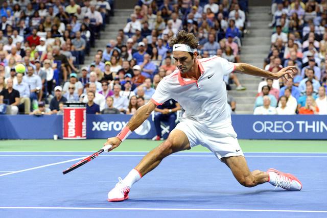 September 11, 2015 - Roger Federer in action against Stan Wawrinka (not pictured) in a men's singles semifinals match during the 2015 US Open at the USTA Billie Jean King National Tennis Center in Flushing, NY. (USTA/Garrett Ellwood)